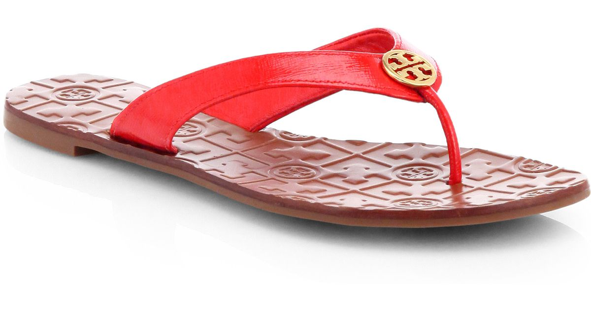 125e9428b5a ... czech lyst tory burch thora 2 patent leather thong sandals in red f9c8b  1cf10