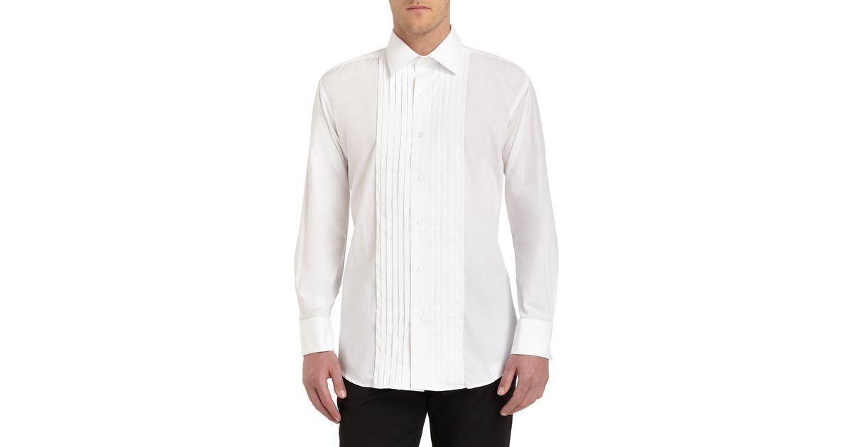 Ike Behar Point Collar Cotton Formal Shirt In White For