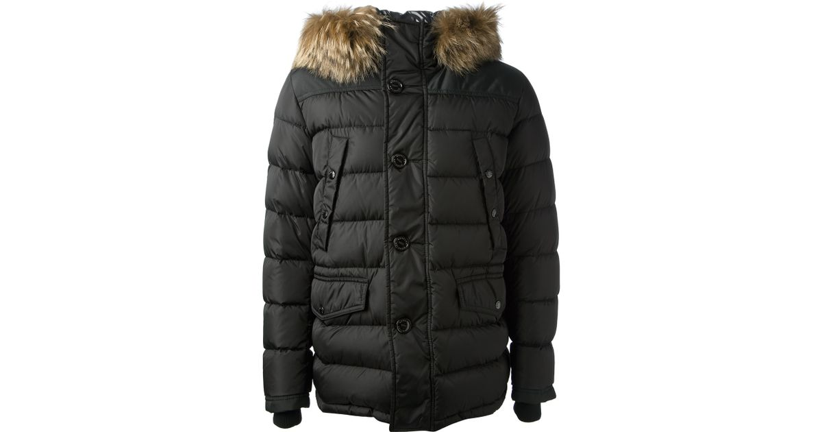 lyst moncler raccoon fur trim padded jacket in black for men rh lyst com