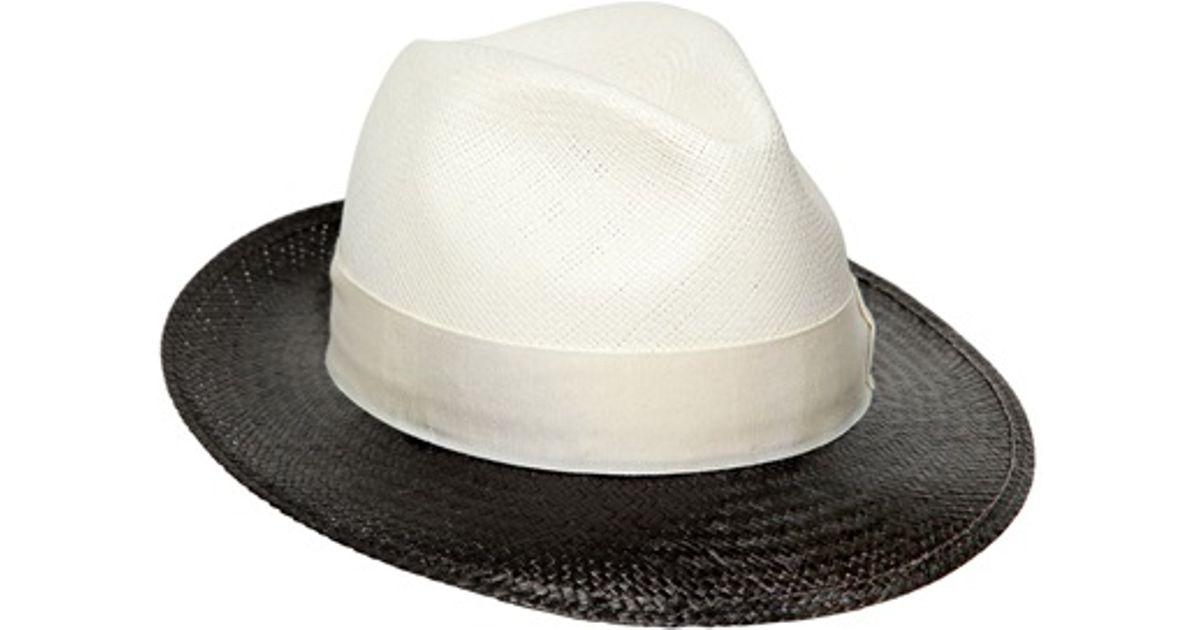 White straw hat Borsalino Qnjm5