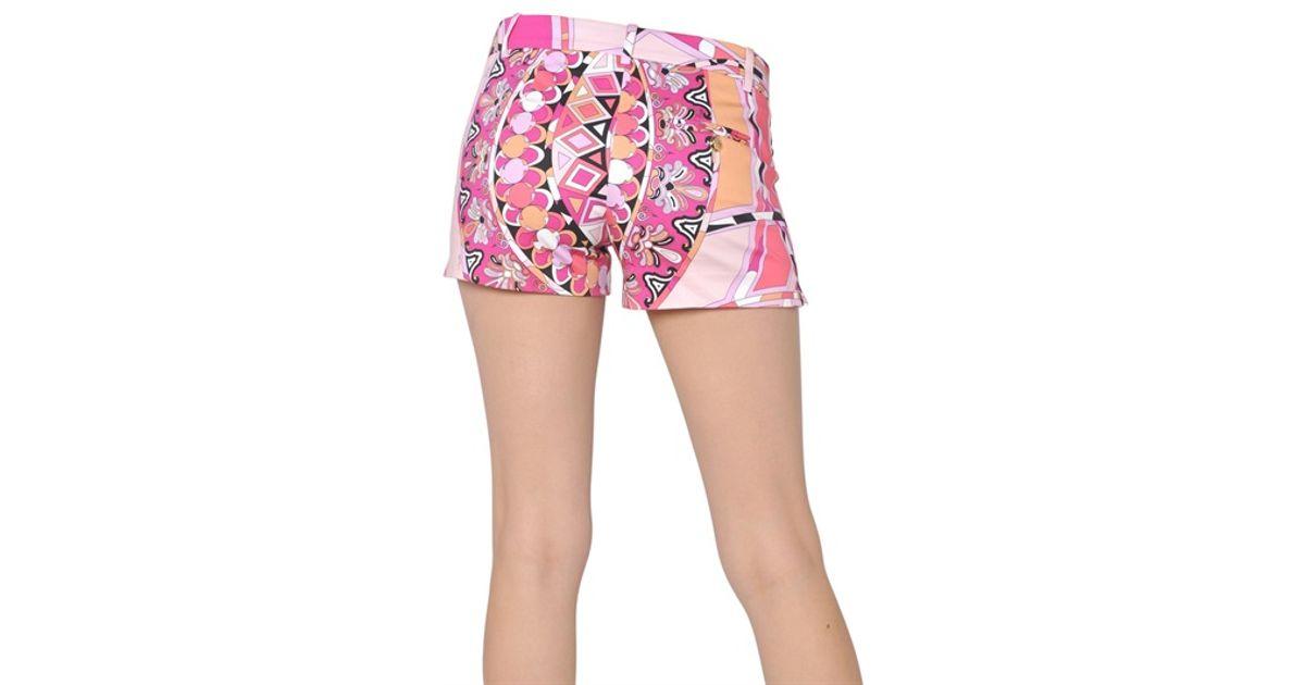 feb5eeb5f292 Lyst - Emilio Pucci Printed Stretch Cotton Shorts