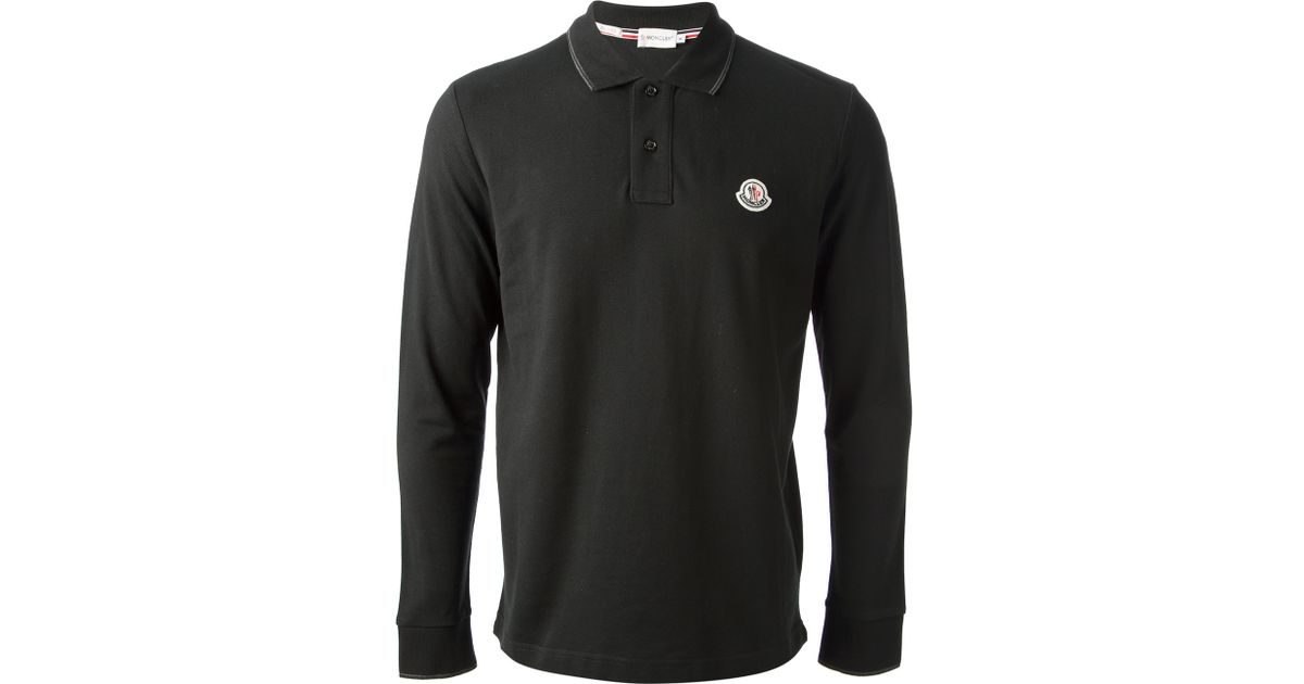 8d4217a14a24 Long Shirt Sleeve For Men Black Lyst In Polo Moncler OH1xzqzw