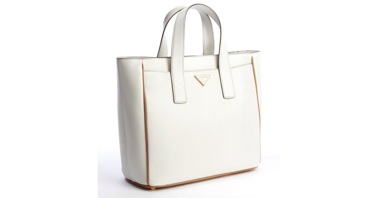 Prada Talc and Caramel Leather Small Square Tote Bag in White ...