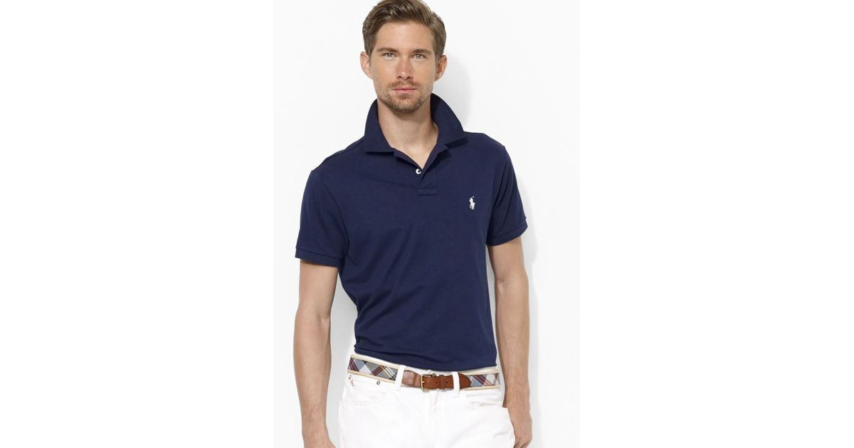 Ralph lauren Polo Customfit Stretchmesh Polo Shirt in Blue for Men | Lyst
