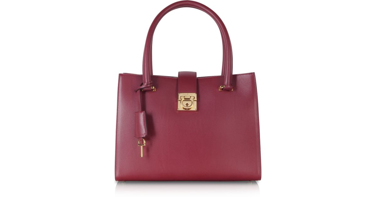 934badcb6345 Lyst - Ferragamo Juliette Burgundy Leather Tote in Red