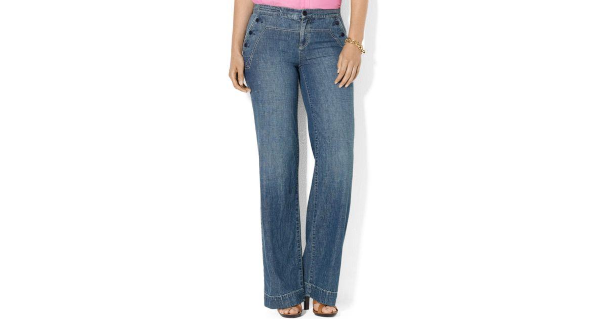 d45ceb73029b8 Lyst - Lauren by Ralph Lauren Lauren Jeans Co Plus Size Wideleg Trouser  Jeans Lido Wash in Blue