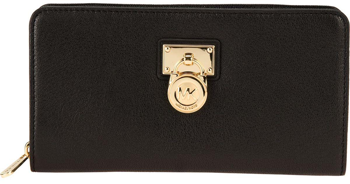 9d3bfe0c448 MICHAEL Michael Kors Padlock Continental Wallet in Black - Lyst