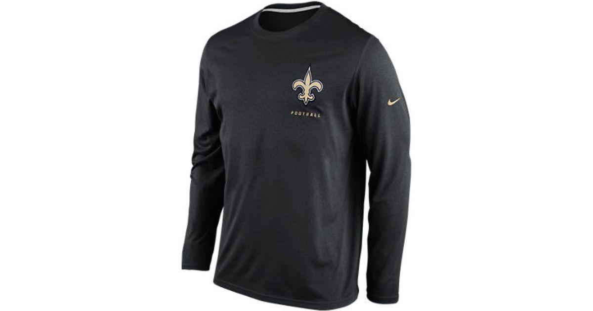Lyst - Nike Mens Longsleeve New Orleans Saints Drifit Tshirt in Black for  Men ecbe89629