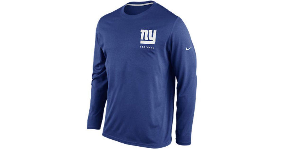 Lyst - Nike Mens Longsleeve New York Giants Drifit Tshirt in Blue for Men 9552470be