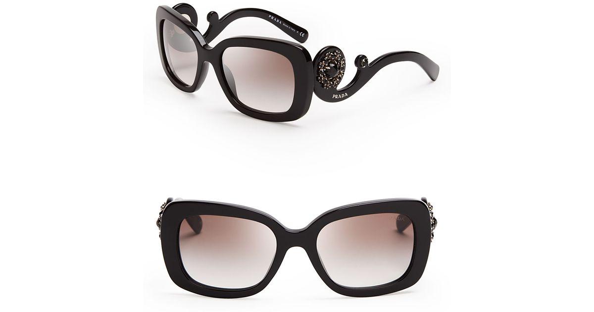 99ead20478 ... canada lyst prada absolute baroque crystal square sunglasses in black  8c58d c6dfd ...