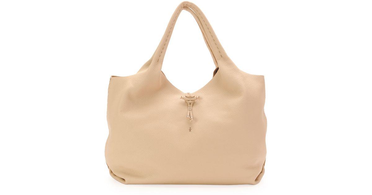 Henry beguelin Canotta Soft Leather Hobo Bag in Natural | Lyst