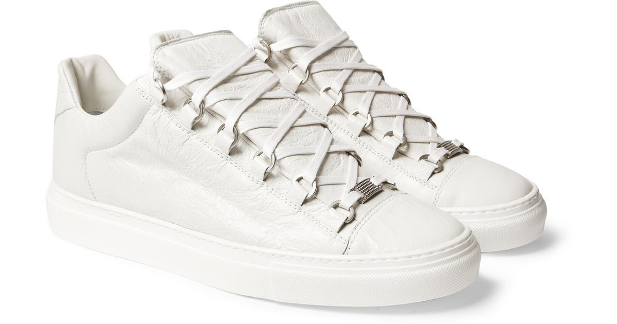 766f3c5b4ad7 Lyst - Balenciaga Arena Creased Leather Low Top Sneakers in White for Men
