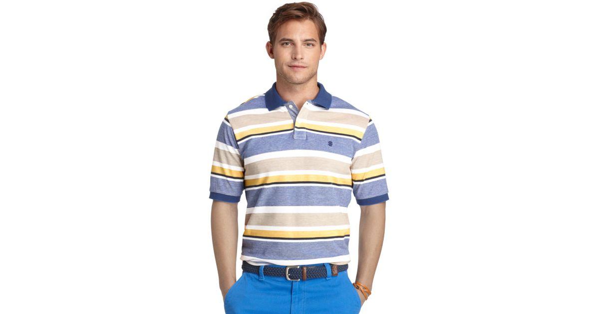 f1efcb58 Izod Multi Stripe Oxford Pique Polo Shirt in Yellow for Men - Lyst