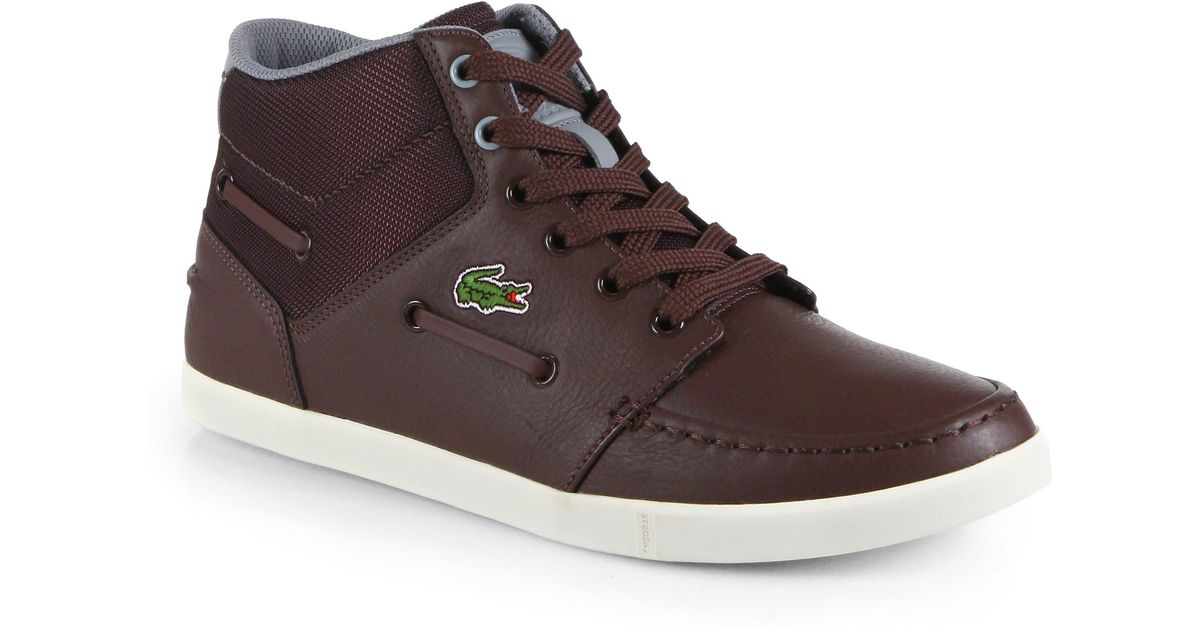 ee7495c27 Lyst - Lacoste Lem Leather Nylon Hightop Sneakers in Brown for Men