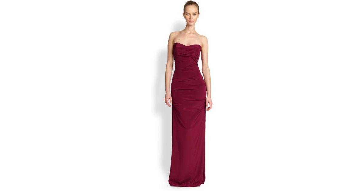 Lyst - Nicole Miller Strapless Silk Gown in Red