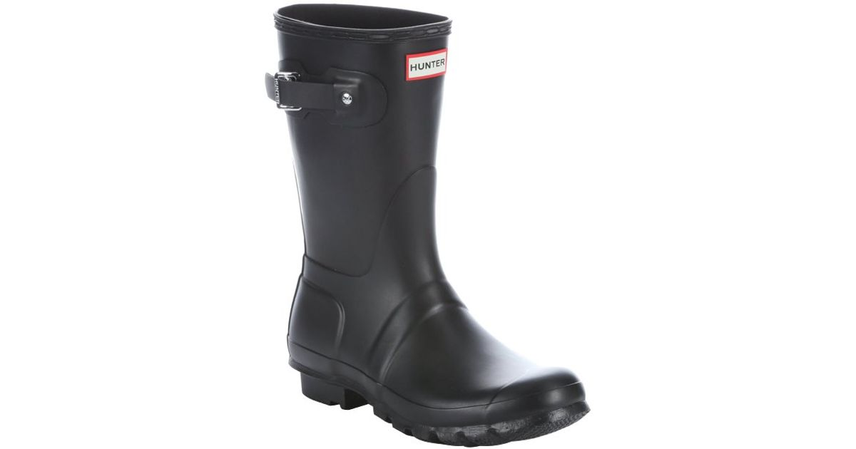 black rubber slip on mid calf boots in black