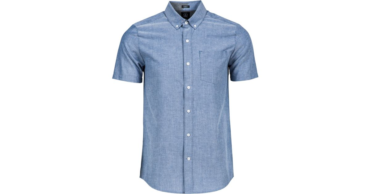 Volcom men 39 s everett short sleeve oxford shirt in blue for for Mens short sleeve oxford shirt