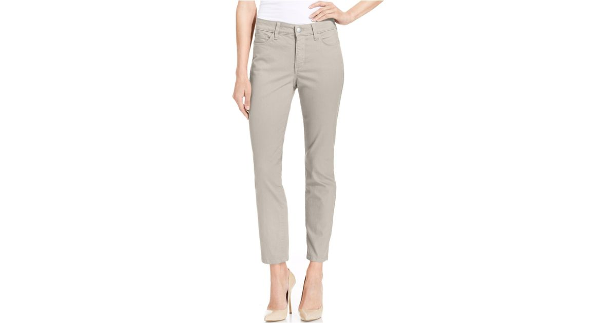 Nydj Petite Skinny Ankle Colored Jeans in Brown | Lyst