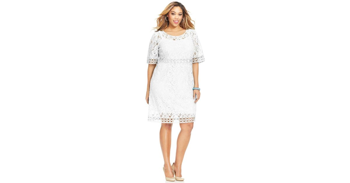 Spense - White Plus Size Crochet-Trim Lace Dress - Lyst