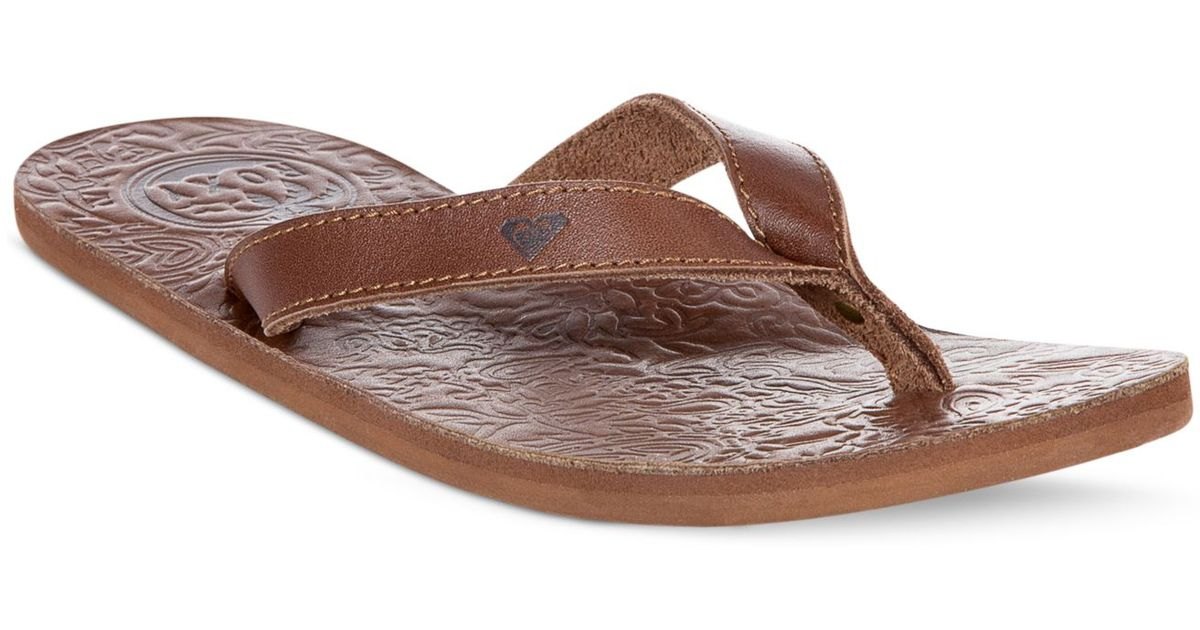 Lyst - Roxy Maya Leather Flip Flops in Brown 633ce5269