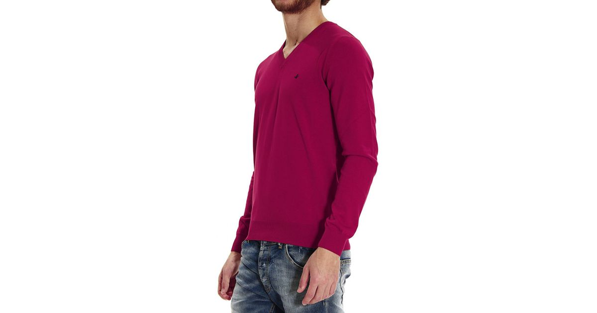 a7a76152eb9abe Lyst - Brooksfield Sweater Knit V Garment Dyed Or Yarn Dyed Capo Cotton  Rasato in Red for Men