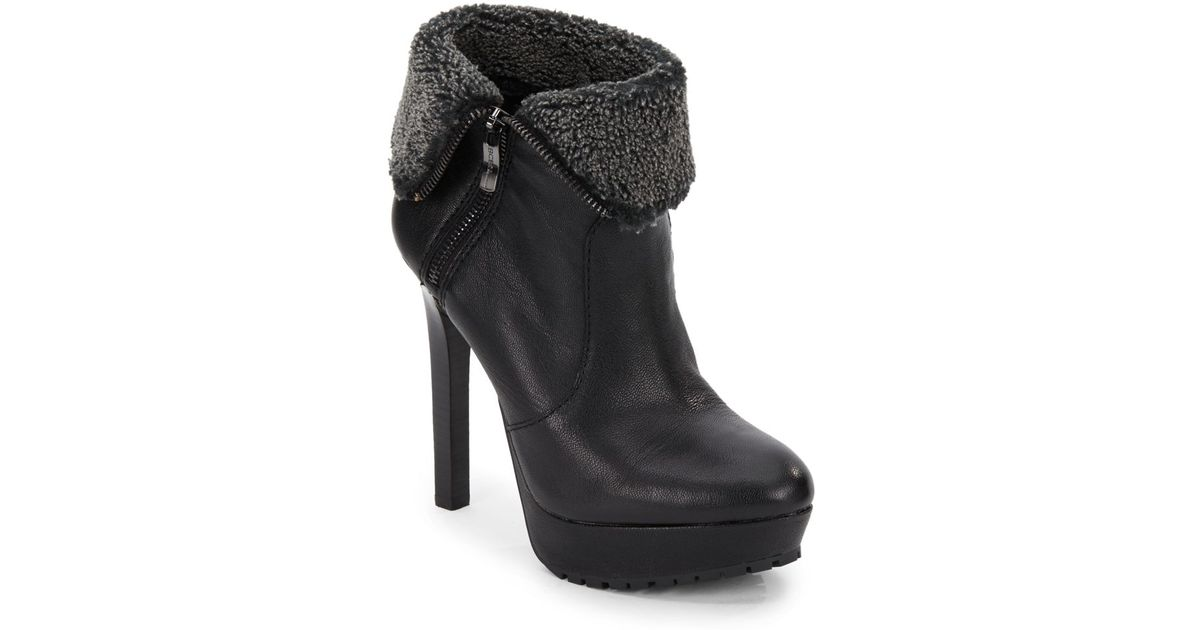 c76ef23197ce Lyst - BCBGeneration Willow Leather Faux Fur-cuff Ankle Boots in Black
