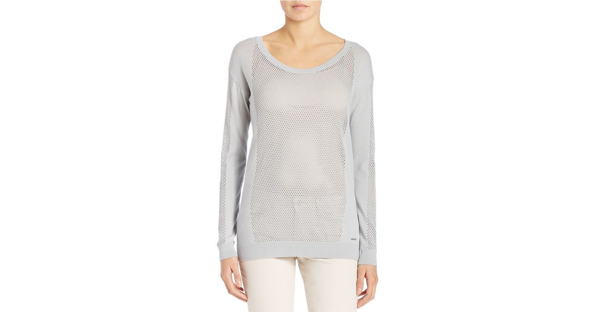 calvin klein jeans open knit raglan sweater in gray lyst. Black Bedroom Furniture Sets. Home Design Ideas