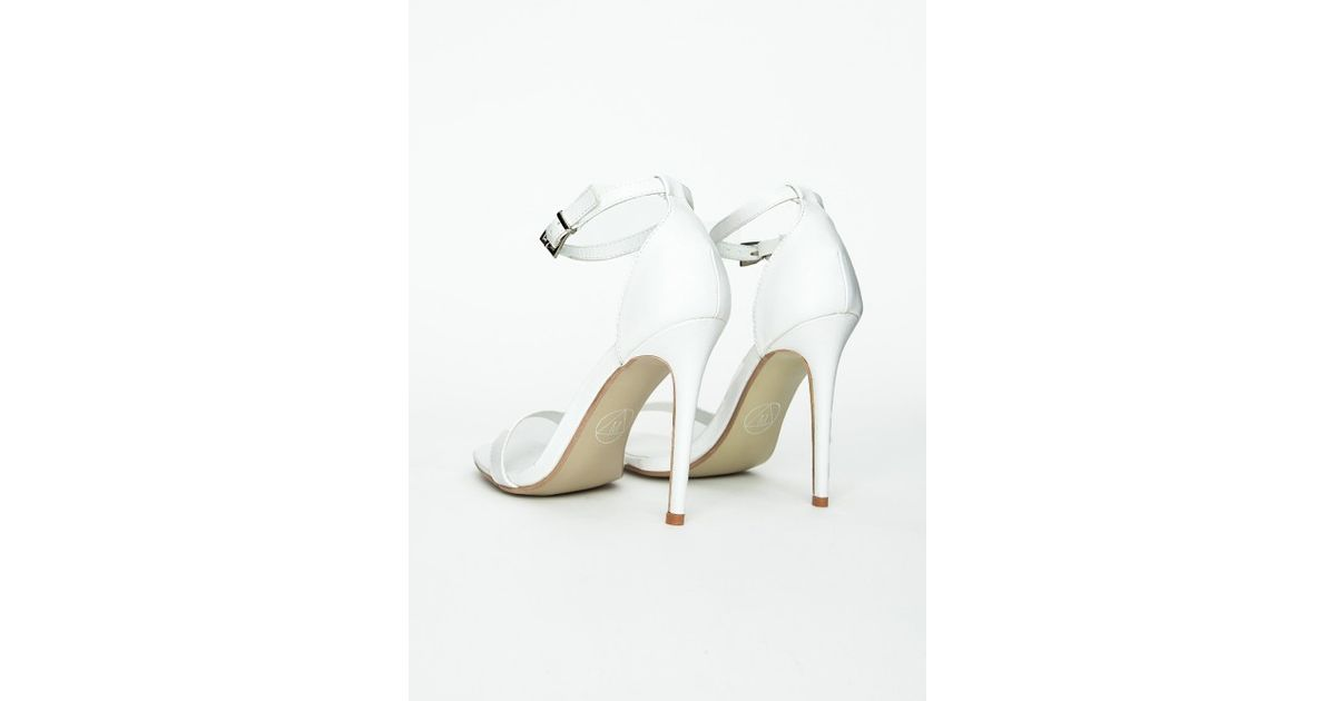 d0fb50fd6391 Lyst - Missguided Clara White Strappy Heeled Sandals in White
