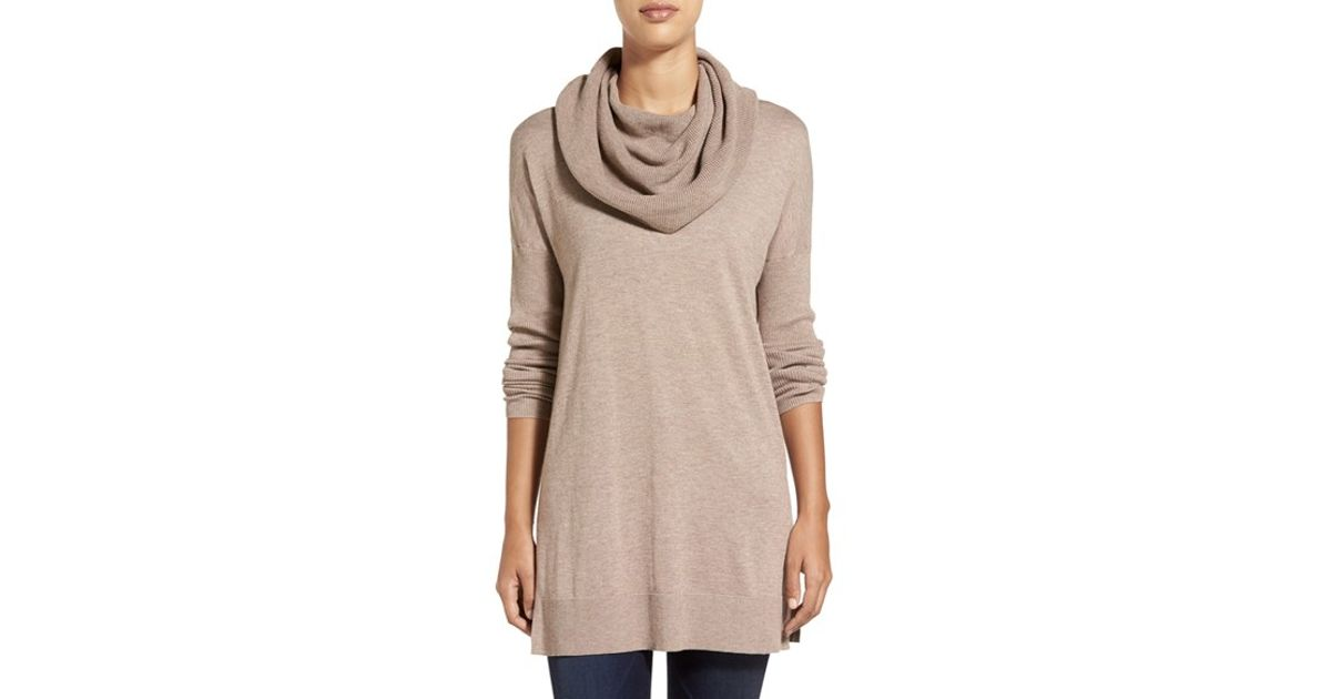 ... Side Slit Cowl Neck Tunic in Brown (TAN COBBLESTONE HEATHER) | Lyst