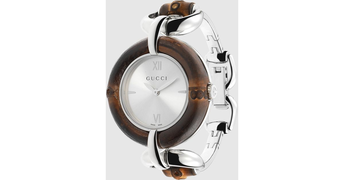 7896f09c85e Lyst - Gucci Bamboo Stainless Steel Watch in Natural