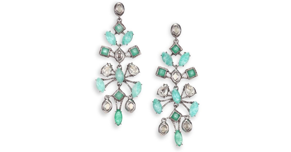 Lyst Alexis Bittar Elements Moonlight Ite Green Chalcedony Crystal Spur Lace Chandelier Earrings In