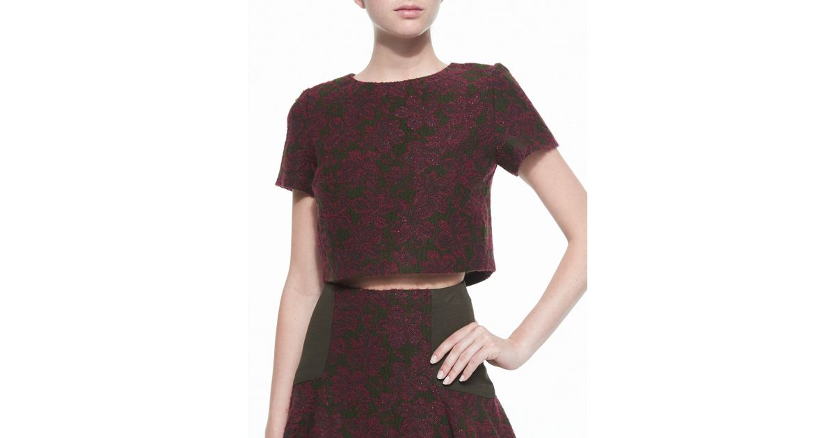 a551d90f88d90 Lyst - Alice + Olivia Sarina Short-Sleeve Jacquard Crop Top in Red