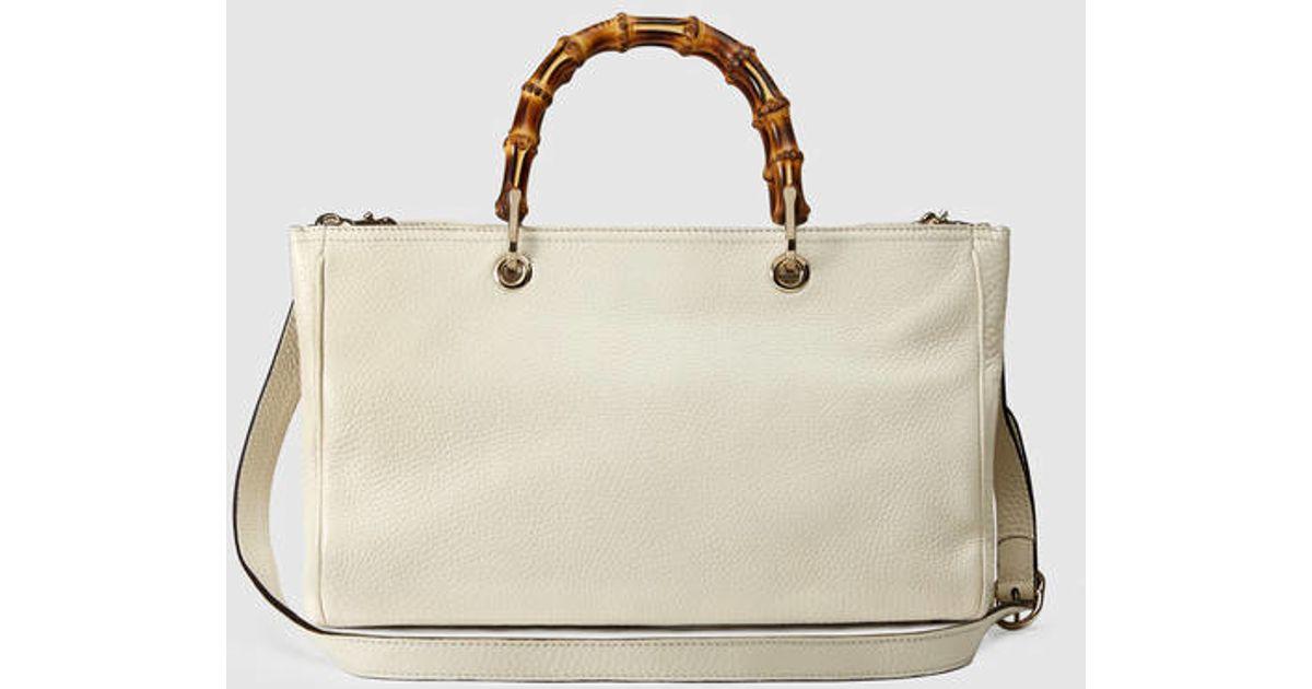 Lyst - Gucci Bamboo Shopper Leather Tote in White 407a5e3ac3c26