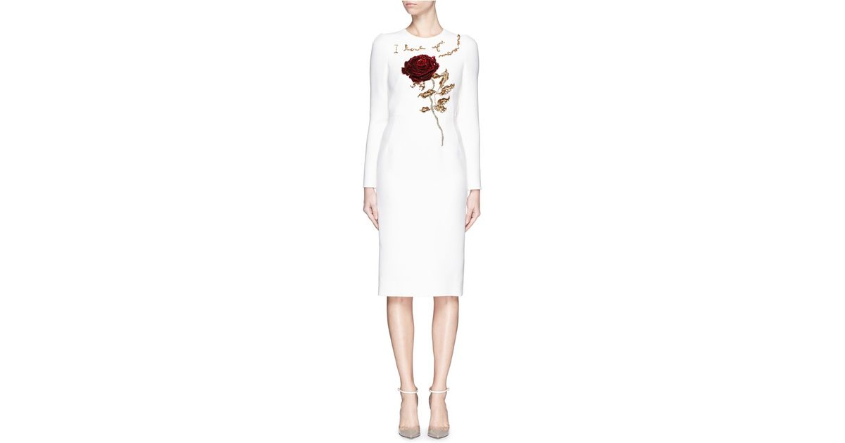 8a775dd18c Dolce   Gabbana  i Love You Mamma  Rose Sequin Appliqué Virgin Wool Dress  in White - Lyst
