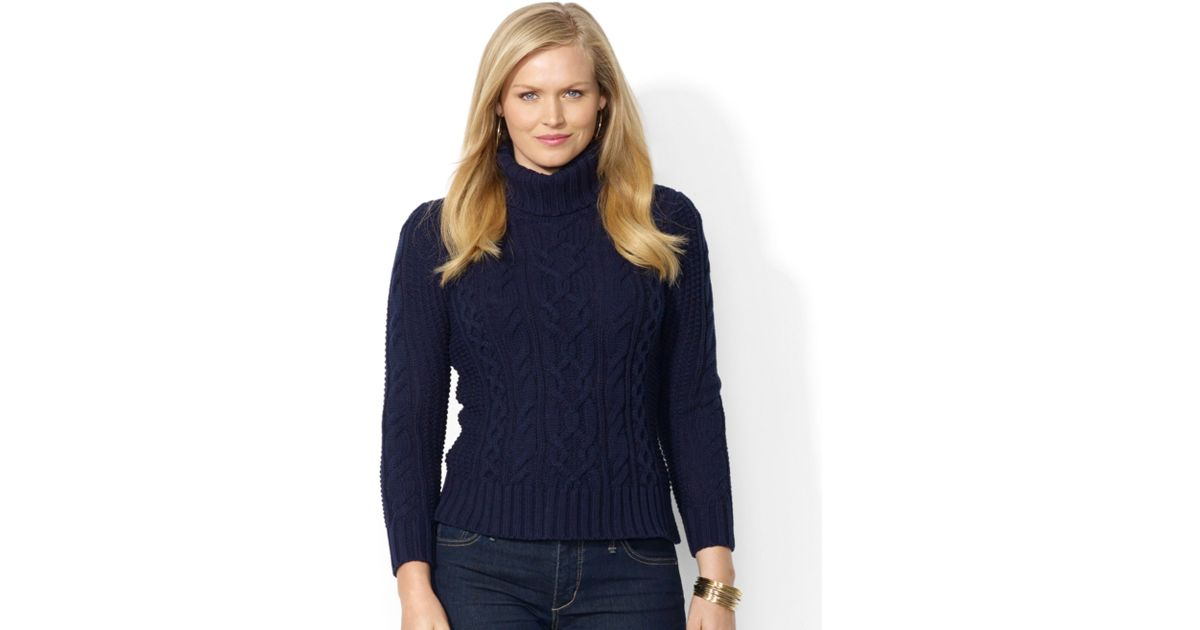 Lyst Lauren By Ralph Lauren Plus Size Cable Knit Turtleneck