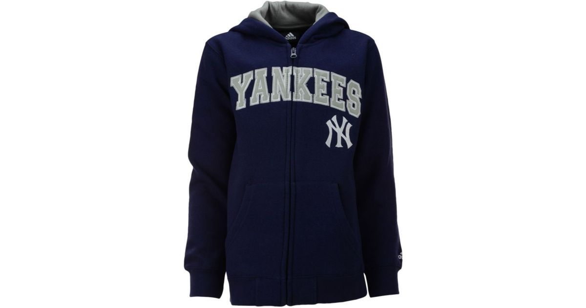 huge selection of 47860 67e00 Adidas - Blue Boys' New York Yankees Full-Zip Embroidered Hoodie for Men -  Lyst