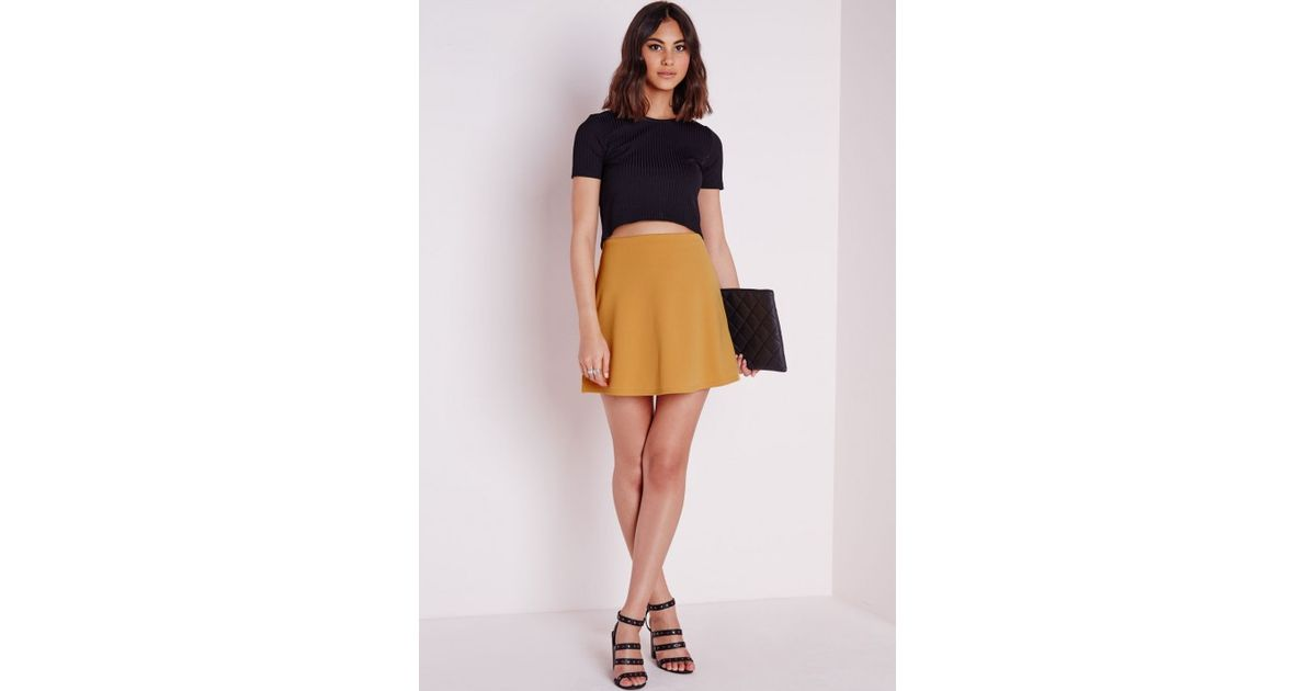 Missguided Scuba A Line Skirt Mustard in Yellow | Lyst
