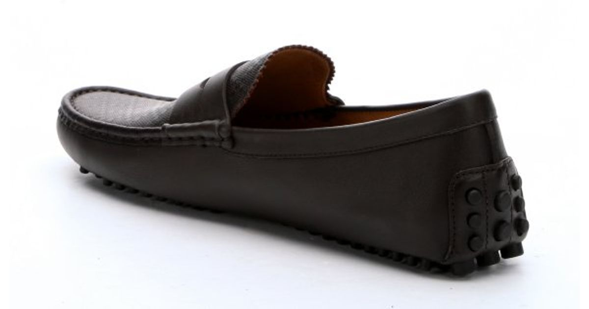 65a0926cd Gucci Brown Diamante Leather Penny Loafers in Brown for Men - Lyst