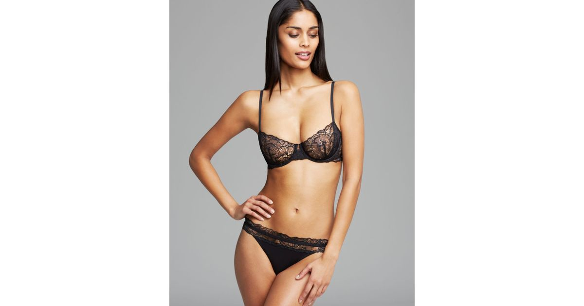ee1ece3ecc Lyst - Calvin Klein Black Label Lace Unlined Underwire Bra  f3739 in Black