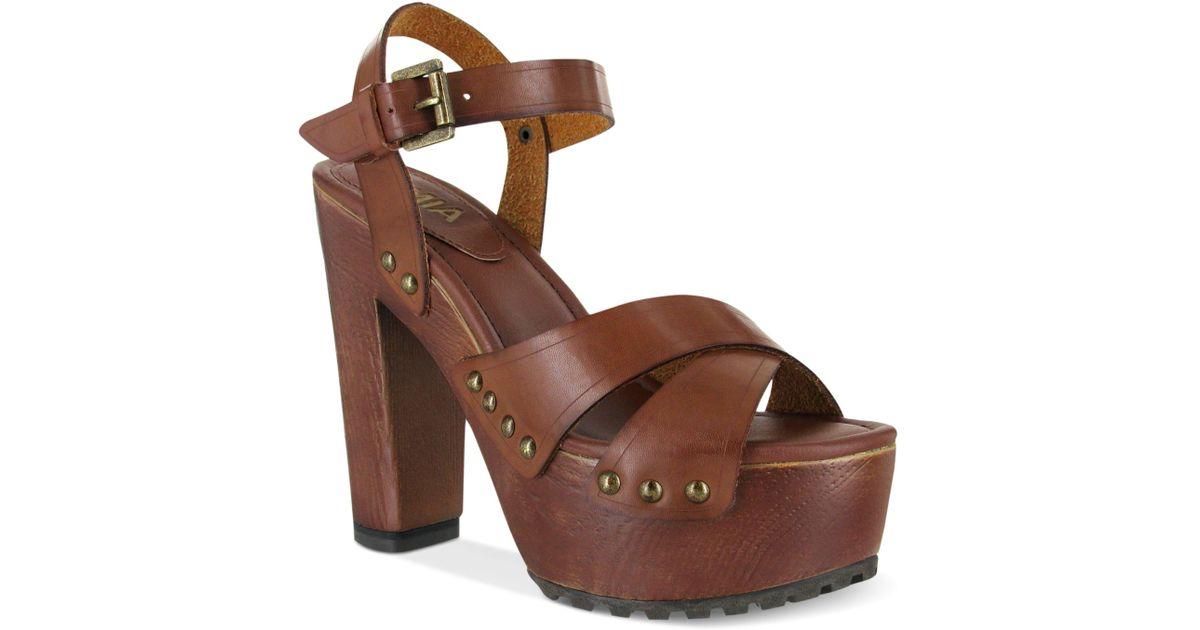 In Elly Clog Lyst Platform Wooden Mia Brown Sandals AR5LS34cjq