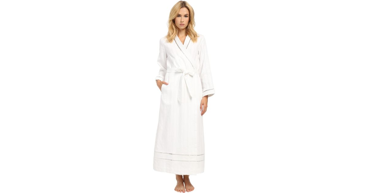 Lyst - Oscar De La Renta Spa Brushed Cotton Stripe Waffle Long Robe ...
