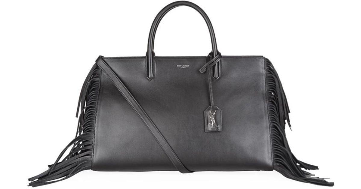 Rive Gauche Small Fringe Leather Tote Bag, Tan