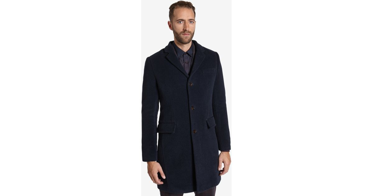 Ted baker Deluxe Detachable Shearling Collar Coat in Blue for Men ...