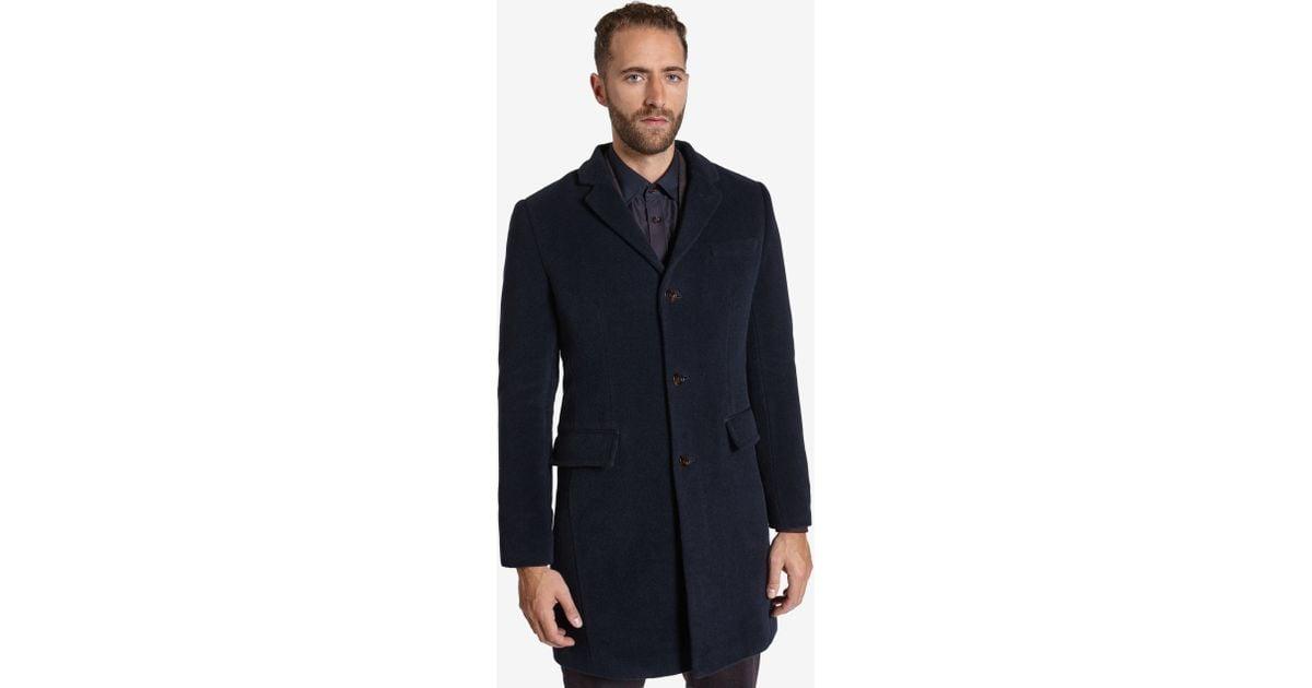 Ted baker Deluxe Detachable Shearling Collar Coat in Blue for Men ...