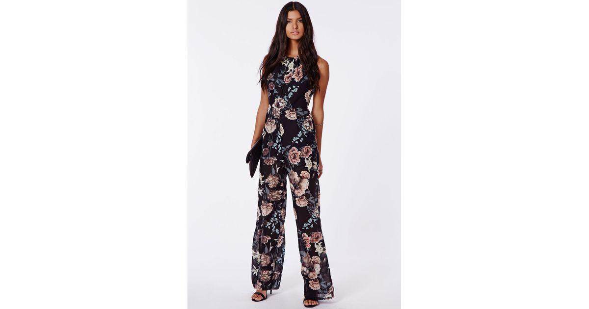 84ca6d5ed14 Missguided Megan Floral Open Back Halterneck Jumpsuit Multi - Lyst