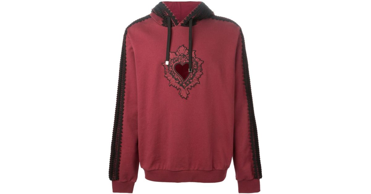 Dolce gabbana sacred heart appliqué hoodie in red for men lyst