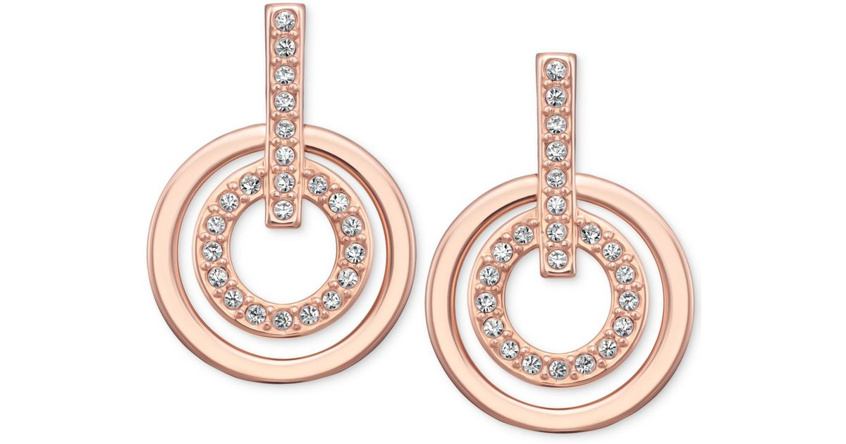 eb910a5da369 Lyst - Swarovski Rose Gold-tone Pavè Crystal Circle Drop Earrings in Pink