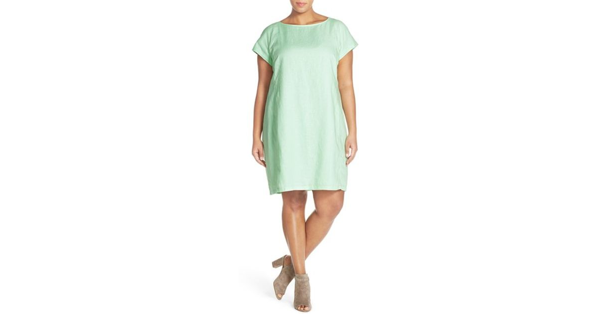 455358f3b92cb Eileen Fisher Bateau Neck Organic Linen Shift Dress in Green - Lyst