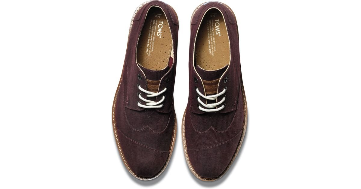 32a5b59820e Lyst - TOMS Burgundy Aviator Twill Men S Brogues in Brown for Men