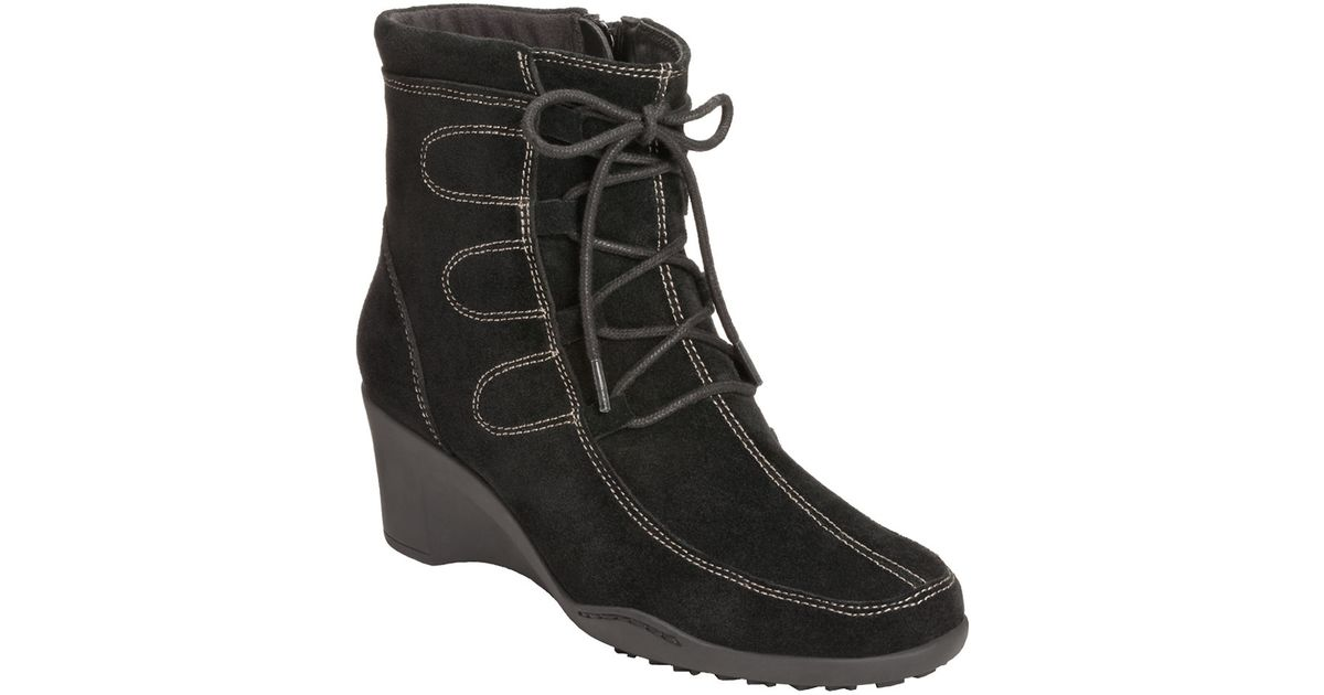 aerosoles tor guide suede wedge boots in black lyst
